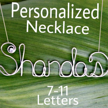 Personalized Wire Name Necklace, Custom Jewelry, 7-11 letters