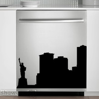 New York Skyline - Vinyl Dishwasher Art - FREE Shipping - Fun Cityscape Decal