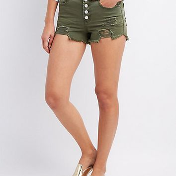 Refuge Destroyed Hi-Rise Cheeky Denim Shorts | Charlotte Russe