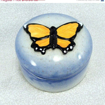 Ceramic Butterfly Keepsake Box - Monarch on Blue
