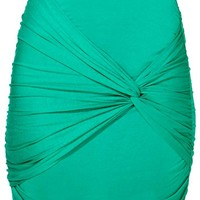 Ruched Knot Skirt - Kelly Green