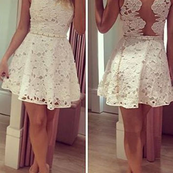White Cut Out Sleeveless Floral Lace Dress