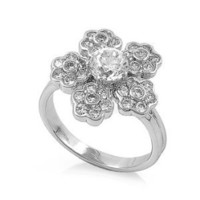 Sterling Silver Round Clear Cubic Zirconia Flower CZ Ring