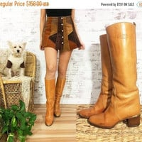 JANUARY SALE Vintage 1970's ITALIAN  Honey Brown Riding Campus Boots || Bogar's Designer Boots || Size 7 to 7.5
