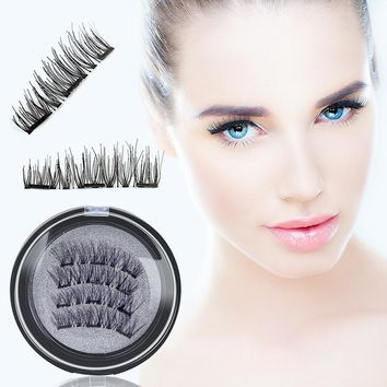 3 Magnet 3D Magnetic Eyelashes Magnet Lashes Thicker Reusable False Eyelashes Handmade No Glue Eye Lashes Makeup Kit 4pcs/pair