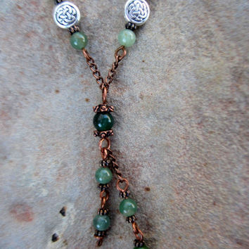 Green aventurine necklace with copper chain and celtic knot beads, copper and gemstone necklace, green gemstone jewelry, aventurine necklace