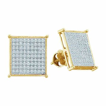 10kt Yellow Gold Women's Round Diamond Square Cluster Stud Earrings 3-8 Cttw - FREE Shipping (US/CAN)