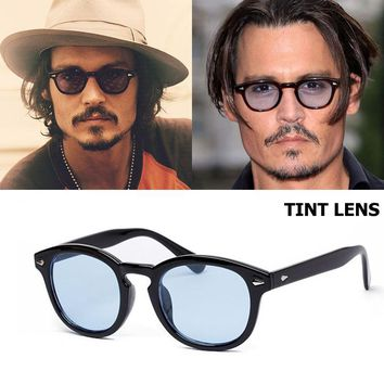 Johnny Depp Round Style Tint Ocean Lens Sunglasses Brand Design Party Show Sun Glasses Oculos De Sol