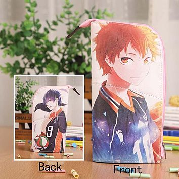 Anime Haikyuu!! Tobio&Syouyou Waterproof PU Leather Stationery Pouch/Brush Pot/Pen Holder/Pencil Case Bag/Office School Supplies