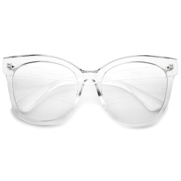 Women's Horn Rimmed Clear Flat Lens Oversize Cat Eye Glasses 57mm