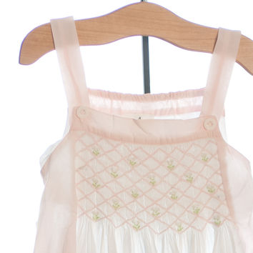Blooming Pink and White Smocked Dress