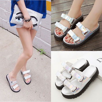 Thick Crust Velcro Korean Silver With Heel Slippers [6047408577]