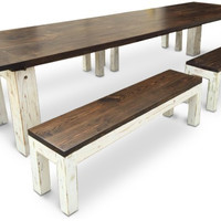 The Kate Farm Table with Matching Benches