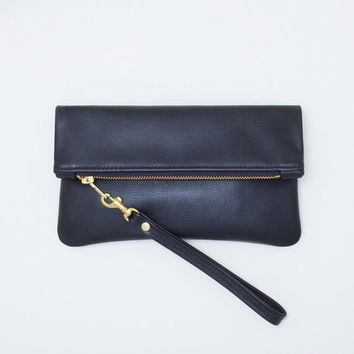 Black Leather Fold Over Zipper Clutch, Fold Over Wristlet, Large Zip Pouch, Everyday Wristlet, Evening Clutch
