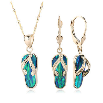 14K Yellow Gold Opal Slipper Pendant Earring Set(Chain Sold Separately)