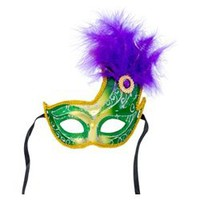 11in Tall x 8in Wide Fancy Plastic Mask w/ Feathers and Jewel on the Side