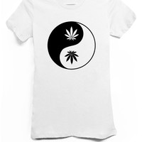 Yin Yang Pot Leaf White Tshirt