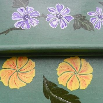 Nested pair serving wood trays, hand painted
