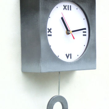 Wall clock with pendulum Ombre - grey / black - 11 inch