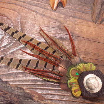 Peacock Tribal Pheasant Feather Hat Pin/Hair Clip-- green, black, brown