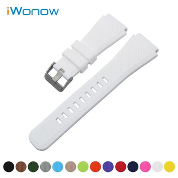 Silicone Rubber Watch Band 21mm 22mm for Fossil Quick Release Strap Stainless Steel Buckle Wrist Belt Bracelet + Spring Bar