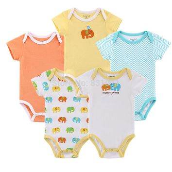 5 pcs / lot Baby Clothing Hanging Elephant Rompers For Baby Boy Girl Clothes Set 0-12 months Baby Rompers Cotton Infant Clothes