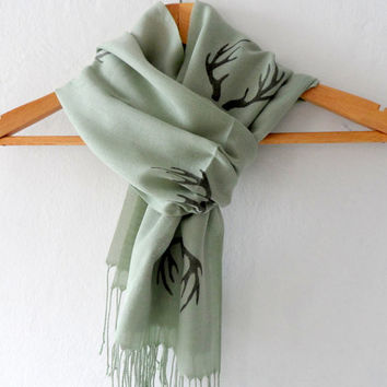 Antler Scarf , Hand stamped Moss Green Cotton Tassel scarf (ivory scarf out of stock)