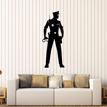 Vinyl Wall Decal Police Officer Law Policeman Cop Stickers Unique Gift (282ig)