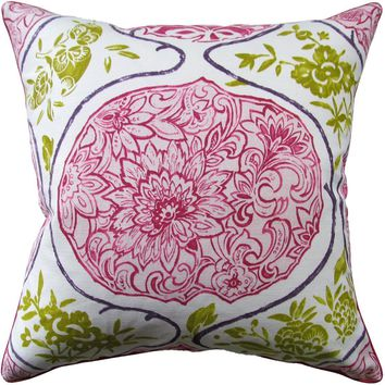 Katsugi Fuchsia and Chartreuse Pillow