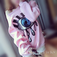 Autumn Kawaii Big Eye Sequins Nylon Fleece Loose Pull Over Jumper Sweater Free Ship SP141444 from SpreePicky