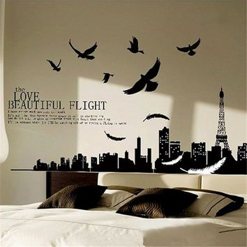 Solid Black City Flying Birds Quote Removable PVC Vinyl Decals Home Decoration Art Mural for Living Room Bedroom Wall Stickers