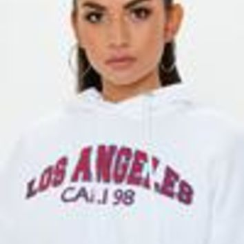 Missguided - White Extreme Oversized Slogan Cropped Hoodie