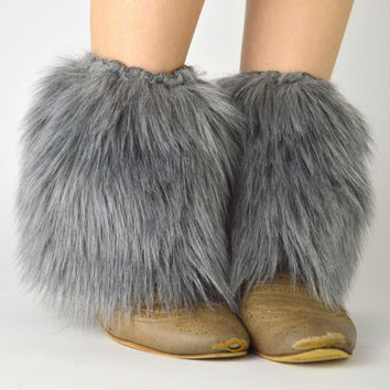 Gray Fur Ankle Boot Covers FREE SHIPPING - Gray Fur Boot Covers, Furry Boot Covers, Gray Faux fur Boot Covers, Faux Grey Ankle Boot Covers