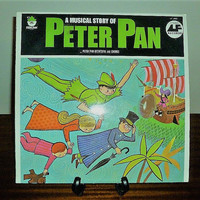 """Vintage 1960s Vinyl Record """"A Musical Story of Peter Pan"""" by Peter Pan Records / Retro Album / Very Rare"""