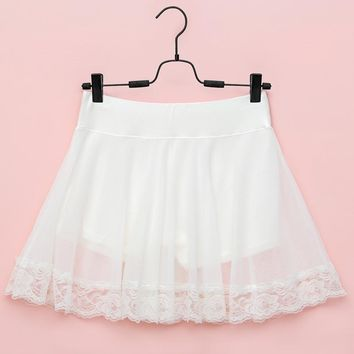 Sweet women's lace gauze safety pants lining short underskirt  modal half slip 3 colors