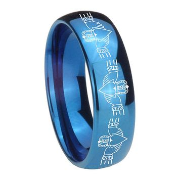 8MM Glossy Blue Dome Irish Claddagh Tungsten Carbide Laser Engraved Ring