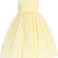 Yellow Satin Spring Dress with Burnout Organza Overlay (Baby, Toddler & Little Girls Sizes)