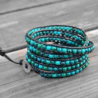Ice Blue Leather Bracelet Mediterranean Green Wrap Bracelet Beaded Bracelet Leather Wrap Bracelet with Black Leather Cord