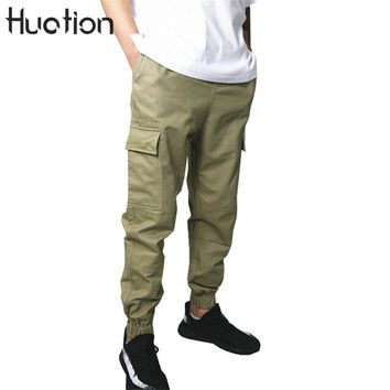 Huation Kanye West Hi-street Multi Pockets Army Green Joggers Cargo Pants 2017 Punk Style Regluar Tactical Pants Sweatpants Male