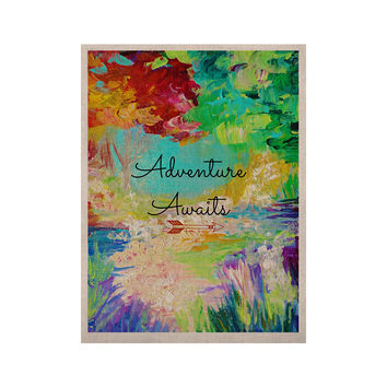 "Ebi Emporium ""Adventure Awaits"" Painting Typography KESS Naturals Canvas (Frame not Included)"