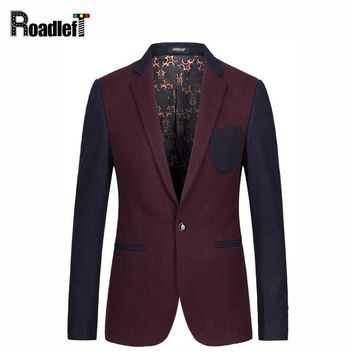 Fashion Men Slim Fit Wine Red Khaki Single Button Wedding Party Blazer Men's 50% Wool Cashmere Blended Casual Suit Jacket M-3XL