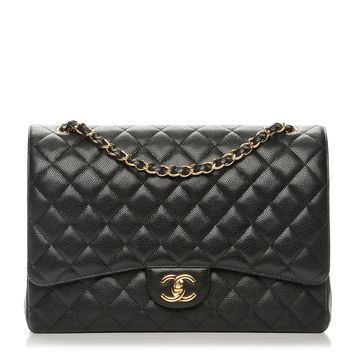 CHANEL Caviar Quilted Maxi Double Flap Black