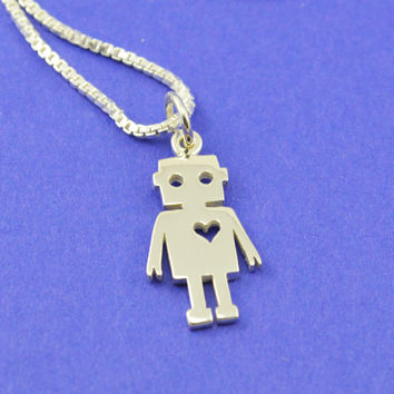 Robot Love Necklace in Sterling Silver