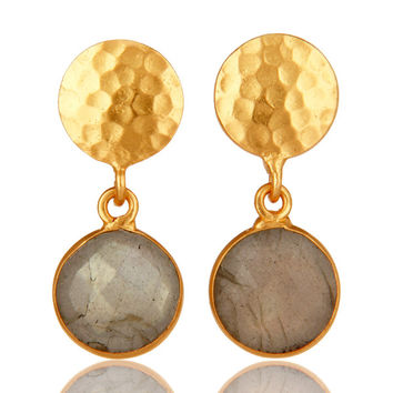 18K Yellow Gold Plated Brass Labradorite Gemstone Bezel Set Earrings