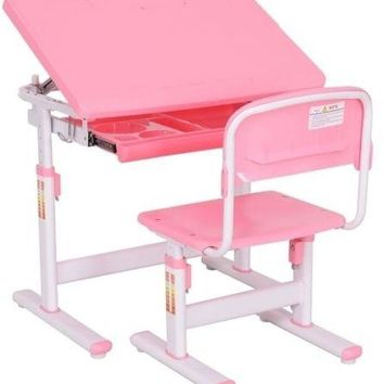 Kids Desk Chair PINK Adjustable Student Kids Girls Workstation Write Table Play