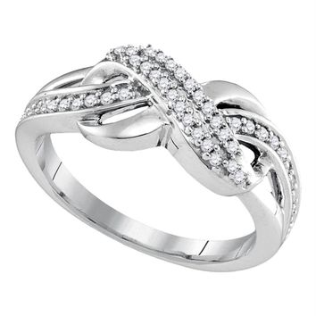 Sterling Silver Womens Round Diamond Infinity Braid Band 1/5 Cttw