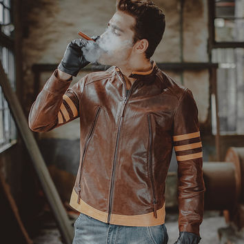 Men's motorcycle real leather jacket Genuine Leather jacket slim biker jackets winter coat men