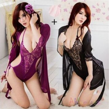 CREYUG3 New Women Sexy Lingerie Satin Lace Kimono Intimates Sleepwear Robe With Belt Set Nightgown Set Plus Size [9221944708]