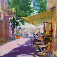 Bright city oil painting - Summer cafe painting - Colourful cityscape