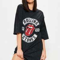 Missguided - Black Rolling Stones Rock T-Shirt Dress